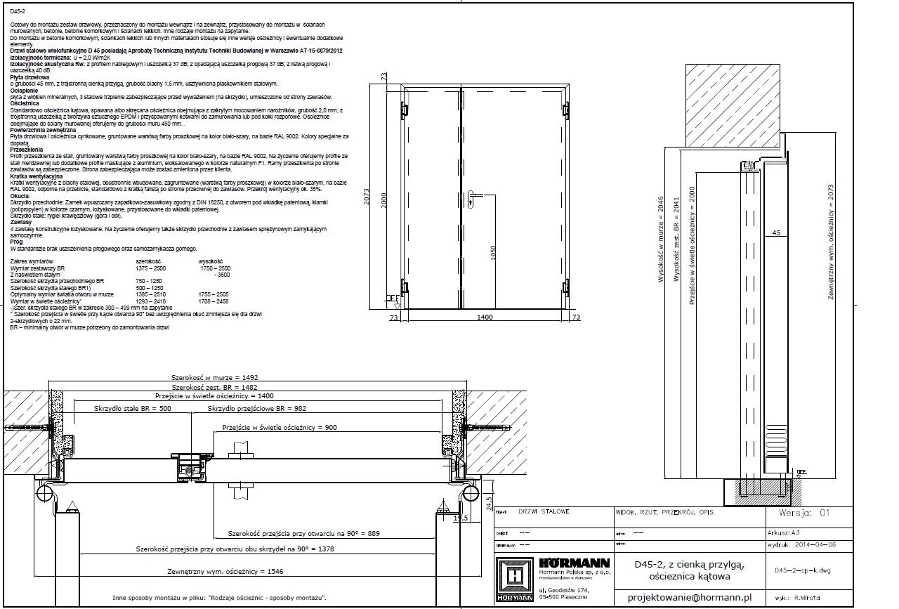 d45 dwuskrzyd owe h rmann polska cad dwg archispace. Black Bedroom Furniture Sets. Home Design Ideas